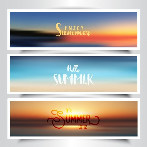 Collection Of Banners With Summer Background Vector