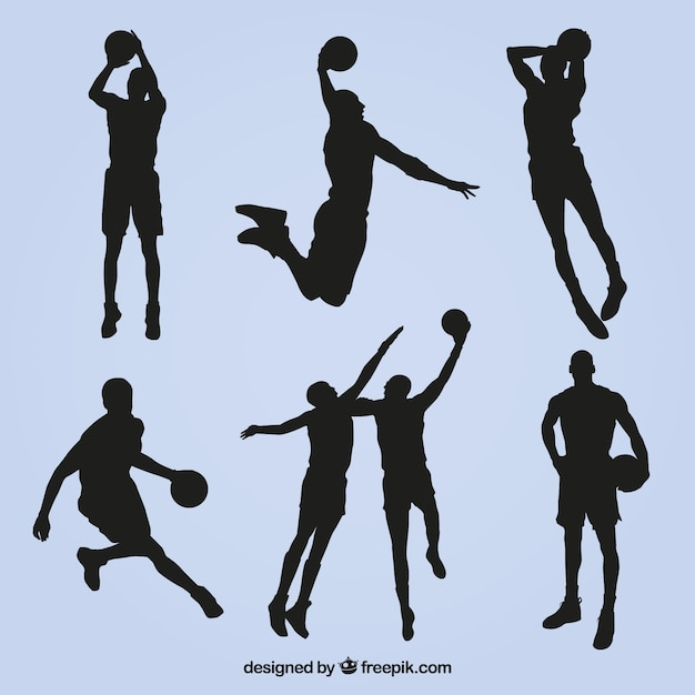 Collection of basketball player silhouettes Vector | Free ...