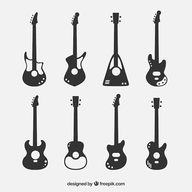 collection of bass guitar silhouettes vector
