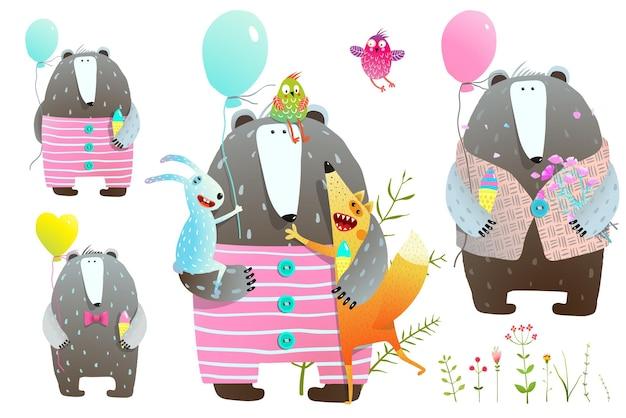 風船と花でクマとキツネとウサギのコレクション。 Premiumベクター