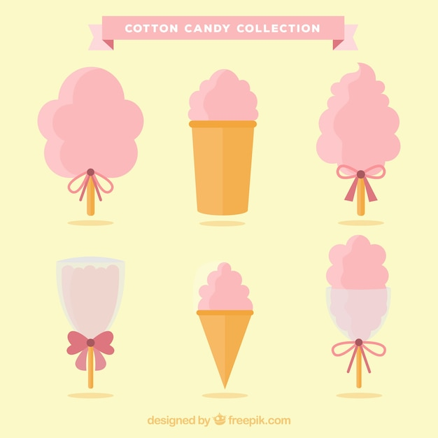 Collection of beautiful and delicious cotton candy