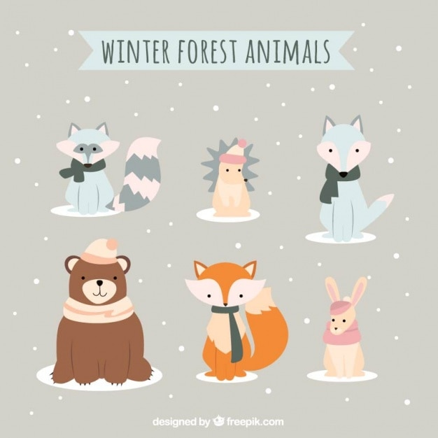 Collection of beautiful and lovely winter\ animals