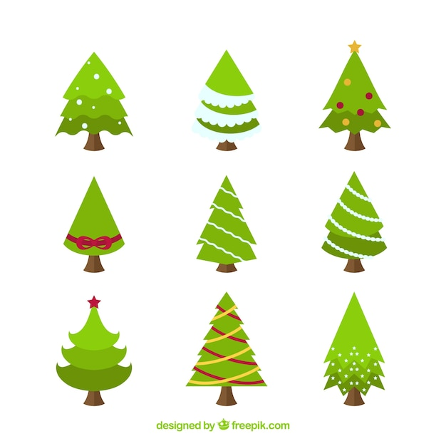 httpsimagefreepikcomfree vectorcollection o - Flat Christmas Tree