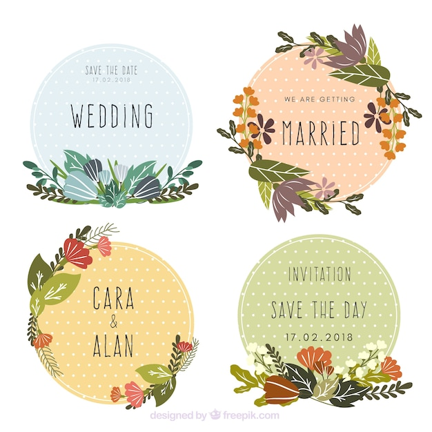 Collection of beautiful floral wedding labels Free Vector