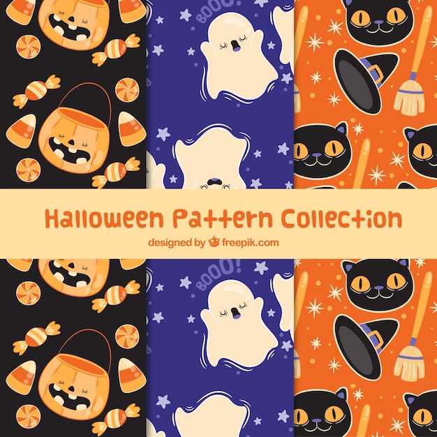Collection of beautiful halloween patterns with characters
