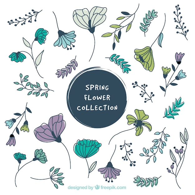 Collection of beautiful hand-drawn vintage flowers Free Vector