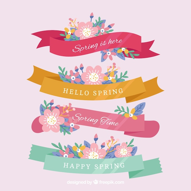 Collection of beautiful spring ribbons Free Vector