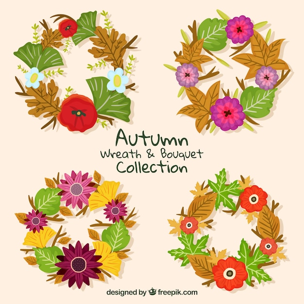 Collection of beautiful vintage autumnal wreath
