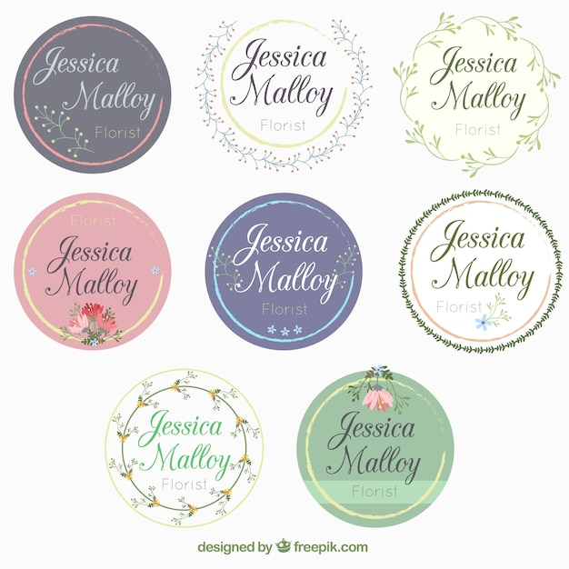 Collection Of Beautiful Wedding Stickers Free Vector