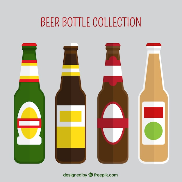 collection of beer bottles in flat design vector free download rh freepik com vector beer bottle label vector beer bottle silhouette