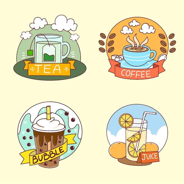 Коллекция логотипов напитков каракули иллюстрации Premium векторы