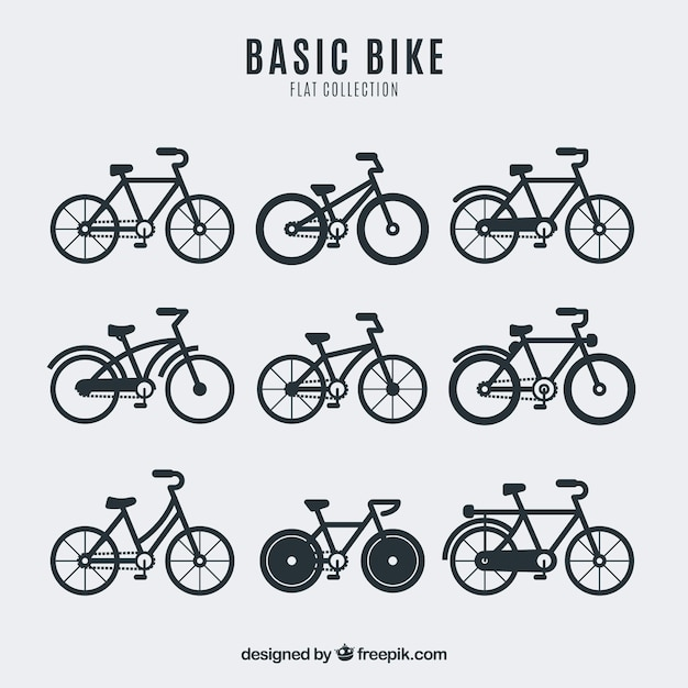 Collection of bicycle in flat design Free Vector
