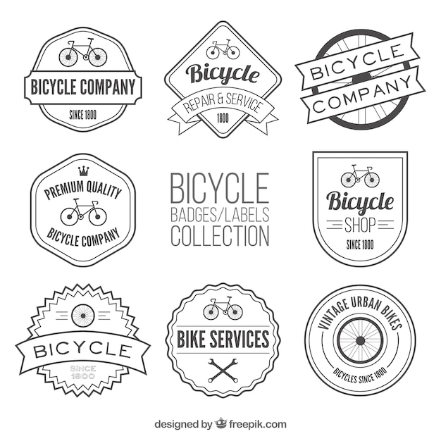 Collection of bicycle label in vintage\ style