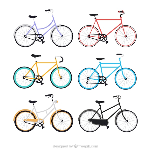 Collection of bicycles in flat design