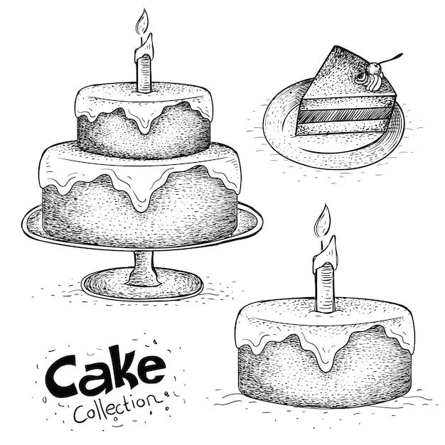 手描きの誕生日ケーキのコレクション Premiumベクター