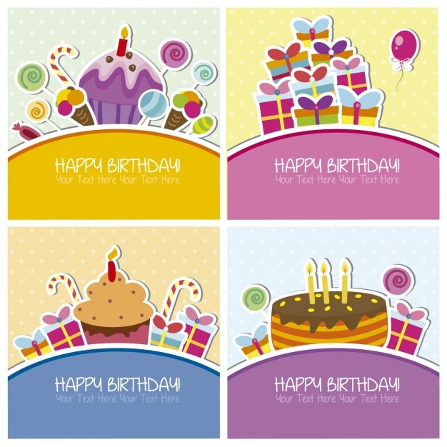 collection of birthday cards vector  free download, Birthday card