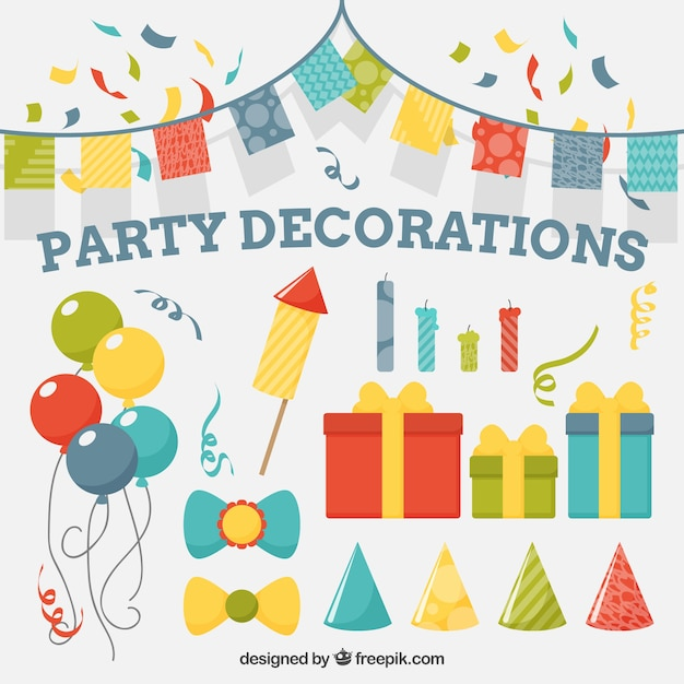 Collection of birthday party decoration Vector Free Download
