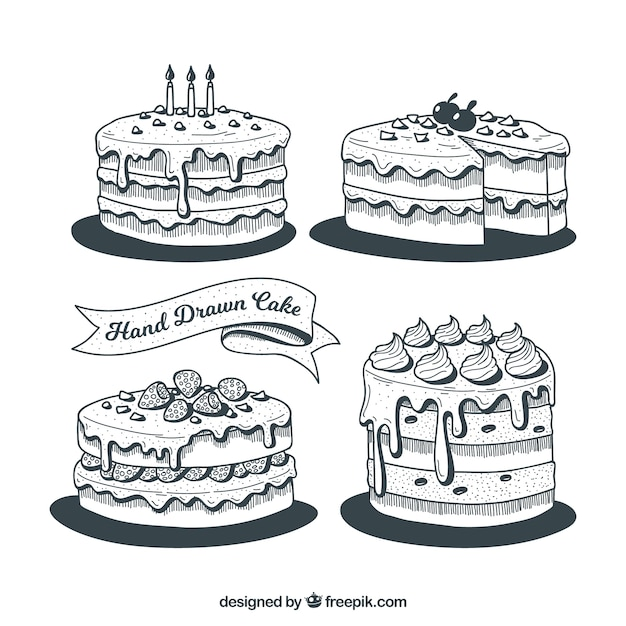 Collection Of Black And White Birthday Cakes Vector Free Download