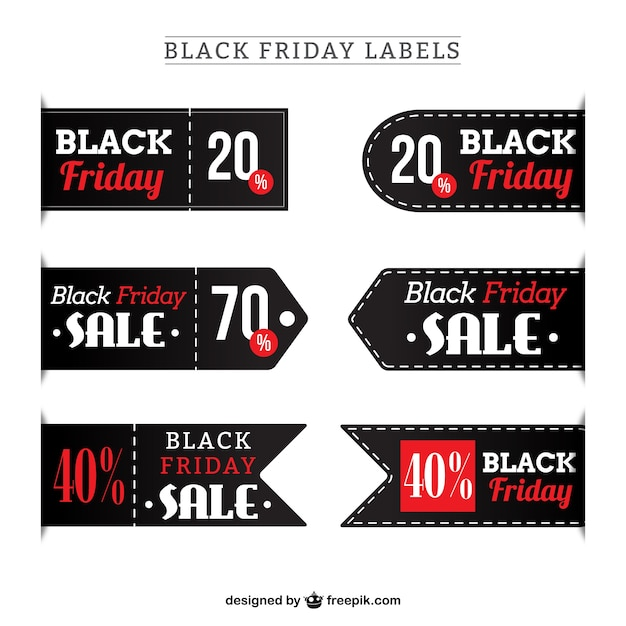 Collection of black friday labels