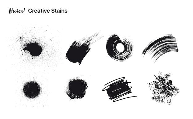 Коллекция мазков черной краской разной формы, выполненных сухой кистью Premium векторы