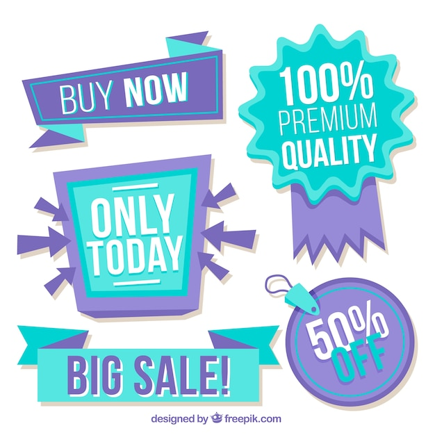 Collection of blue and purple discount stickers Free Vector
