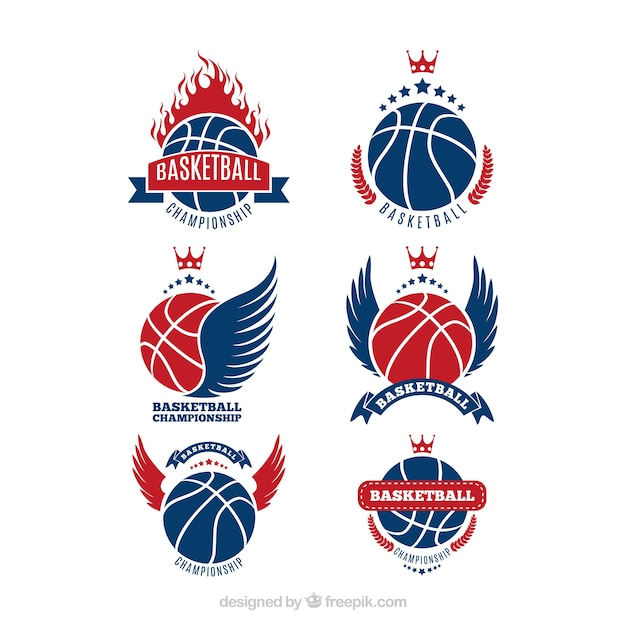Collection of blue and red basketball logos Vector | Free ...  Basketball Logos Free