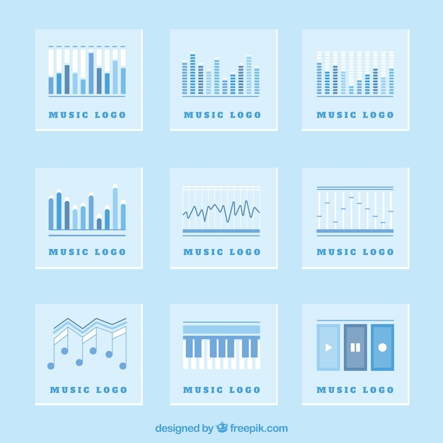 Collection of blue music logos