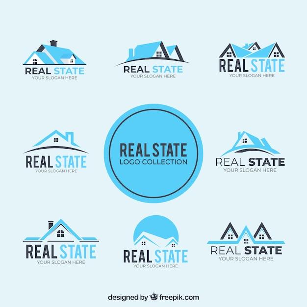 Коллекция синих логотипов недвижимости Бесплатные векторы