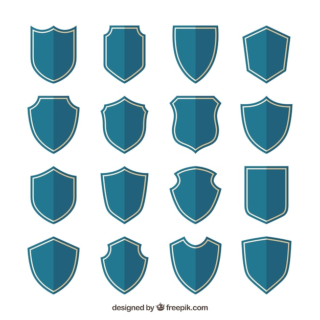Collection of blue shields in flat design Free Vector