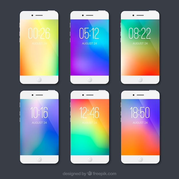 Collection of blurred colorful wallpapers of mobile
