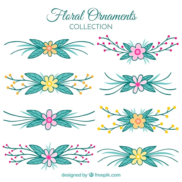 Collection of borders of hand painted decorative flowers