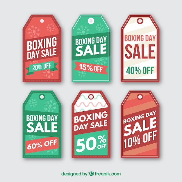 Collection of boxing day sales labels