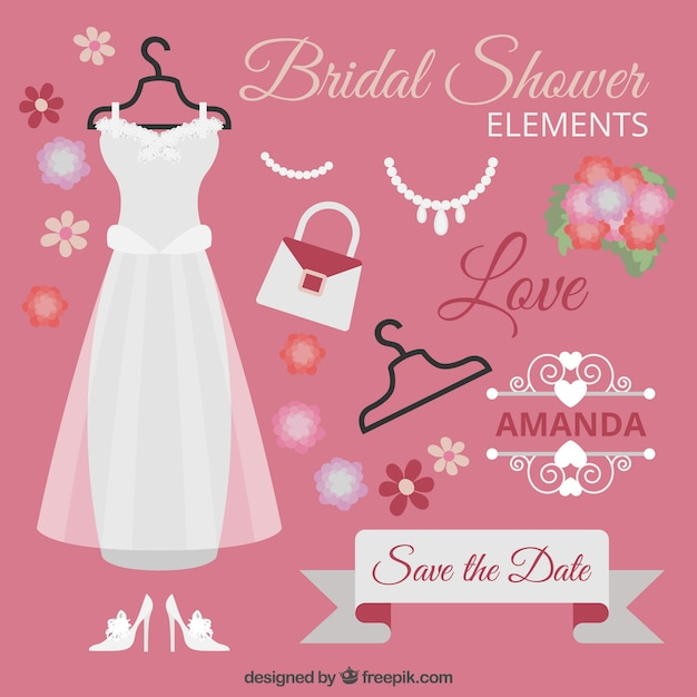 collection of bridal shower elements free vector