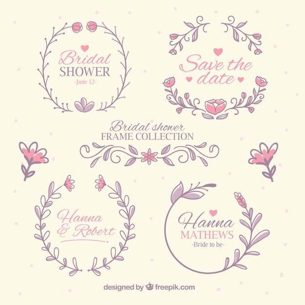Collection Of Bridal Shower Frames In Pastel Colors Free Vector