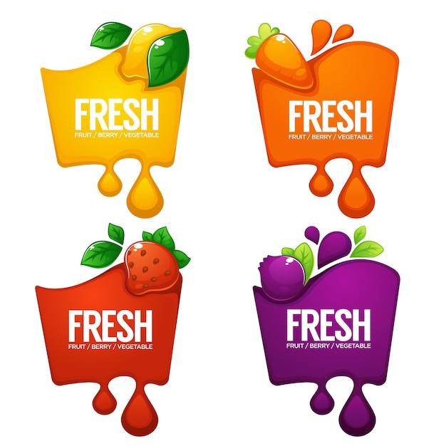 野菜、果物、ベリーフレッシュジュースの明るいフレームのステッカー、エンブレム、バナーのコレクション Premiumベクター