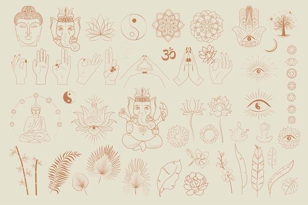 Коллекция буддизма и индуизма, предметы йоги, элементы эзотерики и бохо, растения, будда Premium векторы