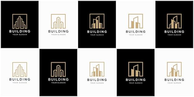 Коллекция строительной архитектуры, символы дизайна логотипа недвижимости Premium векторы