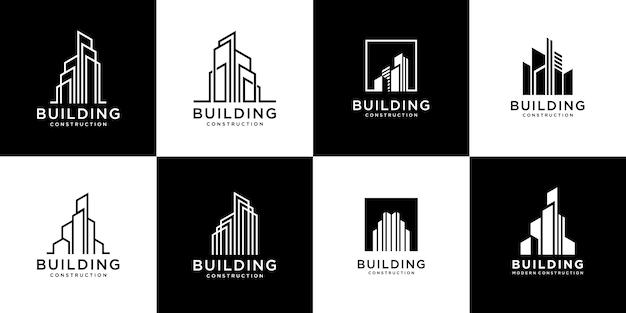 Коллекция наборов строительной архитектуры, символы дизайна логотипа недвижимости Premium векторы