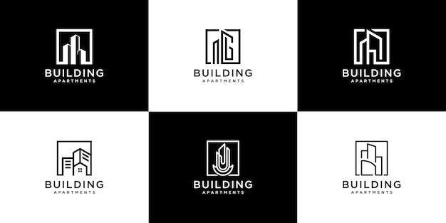 Коллекция наборов архитектуры здания, логотип недвижимости Premium векторы