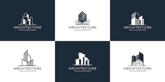 建築建築セットのコレクション Premiumベクター