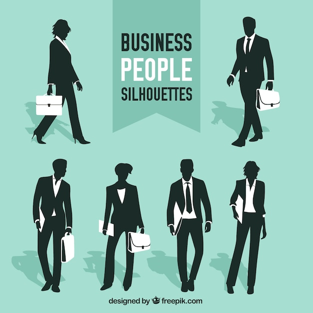 Collection of business people\ silhouettes