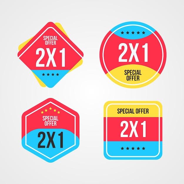 레이블 1 개의 가격으로 2 개 구매 컬렉션 무료 벡터