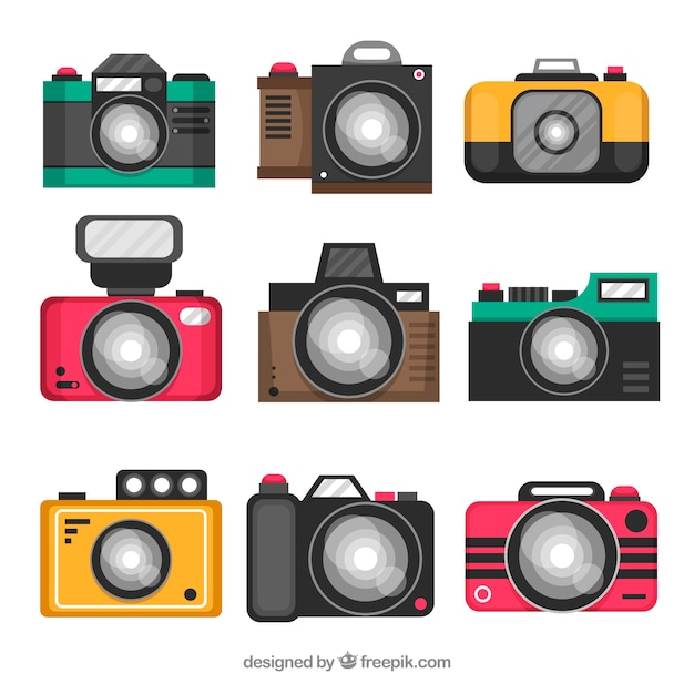 Collection of cameras in flat design