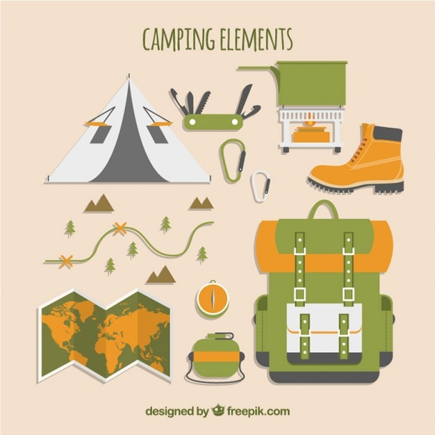 Collection of camping elements