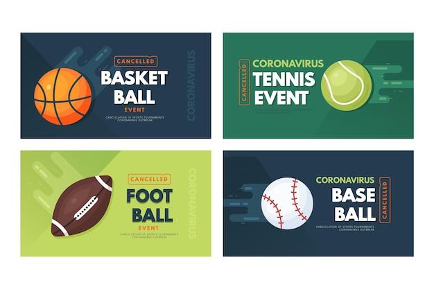 Сборник отмененных баннеров спортивных мероприятий Бесплатные векторы