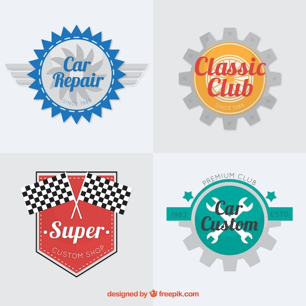 collection of car logos with color elements vector free download