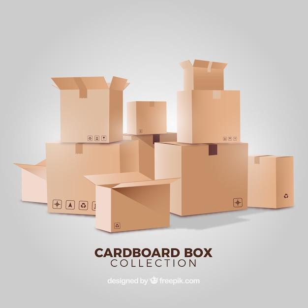 현실적인 스타일의 골 판지 상자 모음 프리미엄 벡터