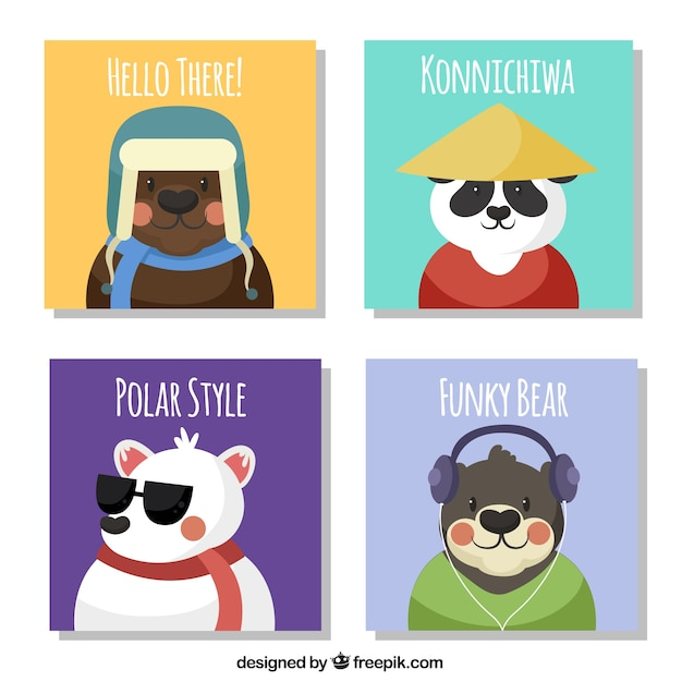 Collection of cards with flat bears Free Vector