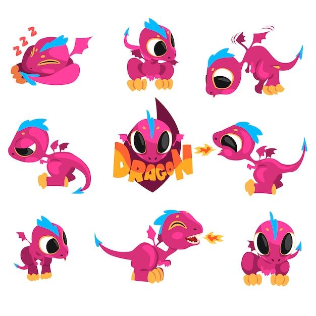 ゲームの漫画の赤ちゃんドラゴンのコレクション Premiumベクター