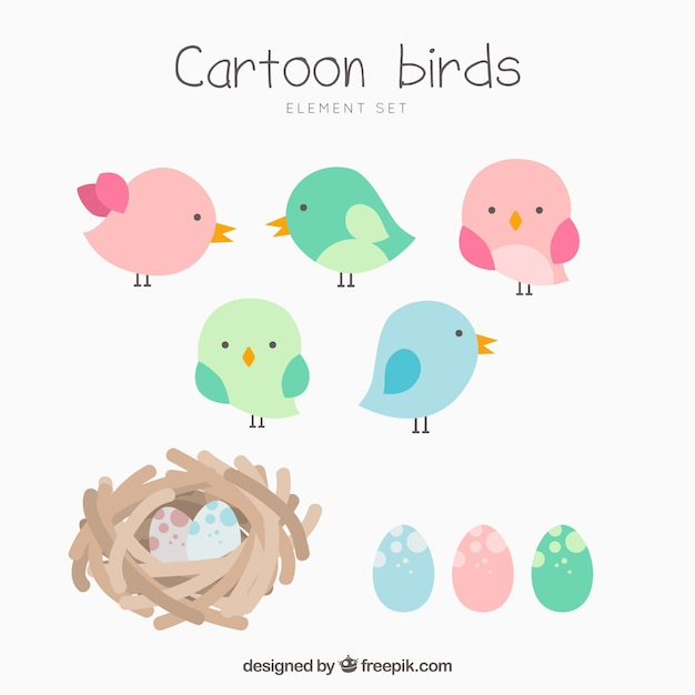 Collection of cartoon birds and nests Free Vector